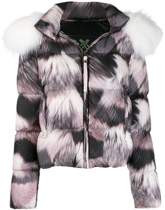 Mr & Mrs Italy Fur-Print Puffer Jacket