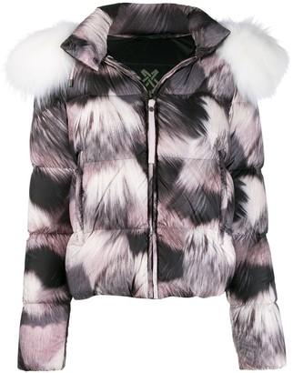 Mr & Mrs Italy fur-print puffer jacket