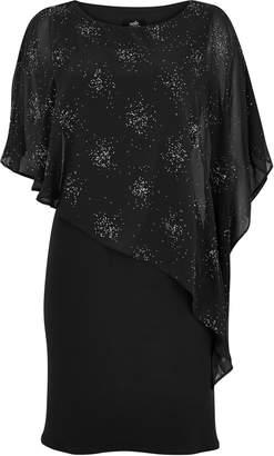 Wallis PETITE Black Sparkle Overlay Dress