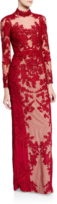 Badgley Mischka Couture Mock-Neck Long-Sleeve Point d'Esprit Lace Illusion Gown