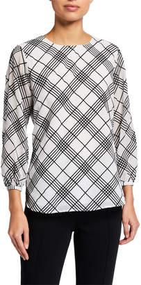 Calvin Klein Grid Printed 3/4 Sleeve Blouse