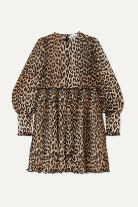 Ganni Leopard-print Plisse-georgette Mini Dress - Leopard print