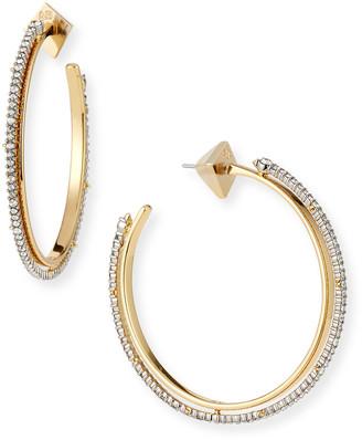 Alexis Bittar Two-Tone Crystal Encrusted Spiked Hoop Earrings