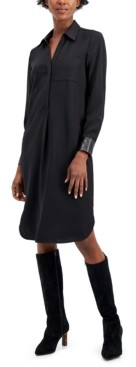 Alfani Faux-Leather Trimmed Shirtdress, Created for Macy's