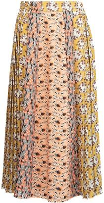Prada Mixed Print Pleated Skirt