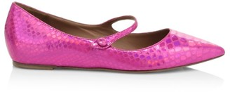Tabitha Simmons Hermione Iridescent Snakeskin-Embossed Leather Mary Jane Flats