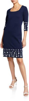 Joan Vass Petite Square-Neck 3/4-Sleeve Dress with Circle Border Trim