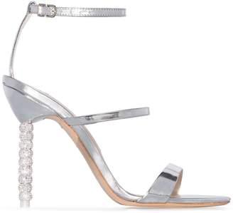 Sophia Webster silver tone Rosalind crystal 110 leather sandals