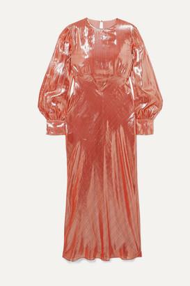 Olivia von Halle Maleficent Aureta Lame Midi Dress - Pink