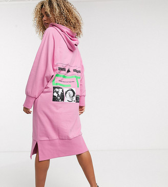 Crooked Tongues oversized hoody dress with warped sonic print-Pink