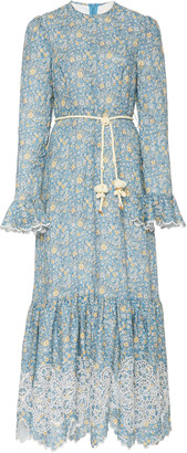 Zimmermann Carnaby Belted Floral Linen Maxi Dress