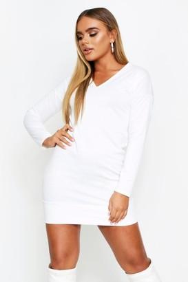 boohoo Oversized V Neck jumper Dress
