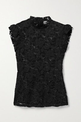 L'Agence Kassia Ruffled Lace Top - Black