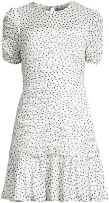 Shoshanna Kayleigh Ruched Chevron & Polka-Dot Flounce Dress