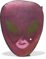 Charlotte Olympia Alienora Iridescent Textured-leather Clutch - Purple