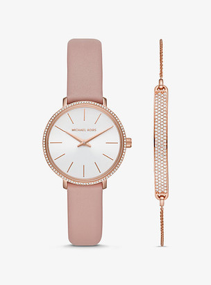 Michael Kors Mini Pyper Rose Gold-Tone Watch And Slider Bracelet Set