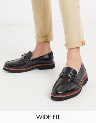 Silver Street wide fit clifton chunky loafer in black
