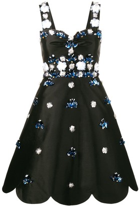 Huishan Zhang Floral Sequin Cocktail Dress