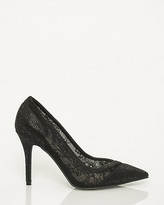 Le Château Satin & Lace Embellished Pointy Toe Pump