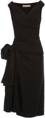 Marni Dress W/s V Neck Cotton Popeline W/maxi Side Knot