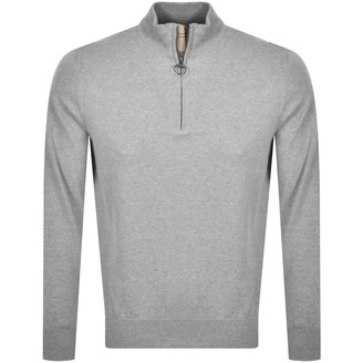 Barbour Half Zip Knit Jumper Grey