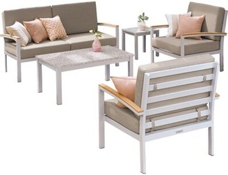 Ash Caspian 5 Piece Sofa Seating Group with Cushions Sol 72 Outdoor Table Top Color: Ash, Cushion Color: Stone