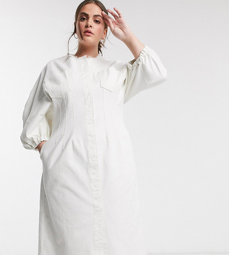 Asos DESIGN Curve denim contour midi dress in white