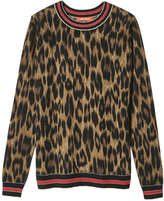 Joe Fresh Women's Stripe Leopard Print Sweater, Dark Brown (Size M)