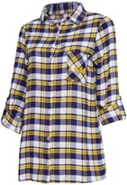 Unbranded Women's Concepts Sport Purple/Gold LSU Tigers Plus Size Piedmont Flannel Long Sleeve Button-Up Nightshirt