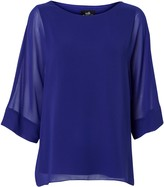 Wallis Blue Overlay Sheer Sleeve Top