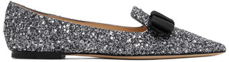 Jimmy Choo SSENSE Exclusive Gunmetal and Black Star Coarse Glitter Gala Flats