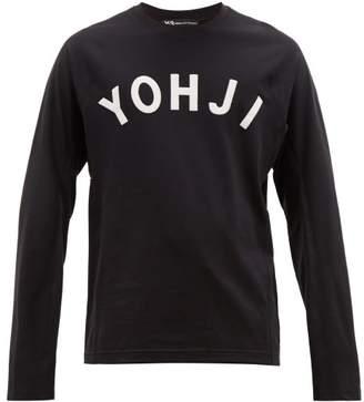 Y-3 Y 3 Yohji Letters Long Sleeved Cotton T Shirt - Mens - Black White