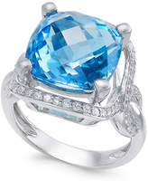 Macy's Blue Topaz (8 ct. t.w.) and Diamond (3/8 ct. t.w.) Ring in 14k White Gold