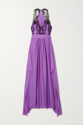 Victoria Beckham - Open-back Silk And Lace Dress - Purple