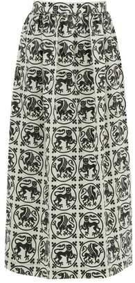 Edward Crutchley Griffin-roundel Print Merino Wool-twill Midi Skirt - Womens - White Black