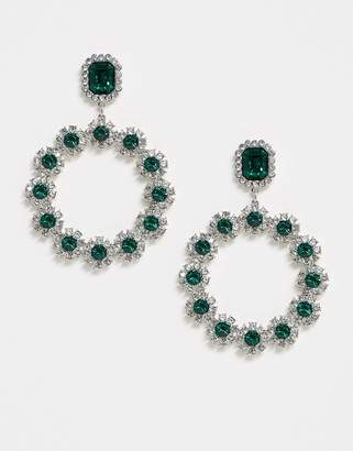 Topshop Freedom At Freedom at statement embellised statement earrings with emerald stones-Multi
