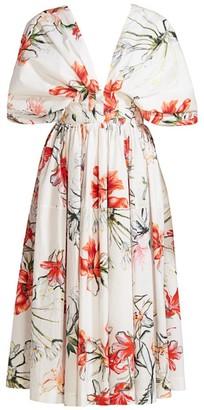 Alexander McQueen Printed Eternal Florals Midi Dress