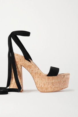Gianvito Rossi 120 Suede Platform Sandals - Black