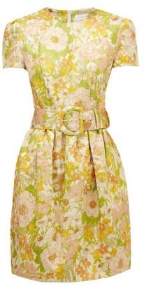 Zimmermann Super Eight Belted Floral-brocade Mini Dress - Pink Multi