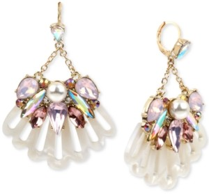 Betsey Johnson Gold-Tone Crystal & Imitation Pearl Seashell Cluster Chandelier Earrings
