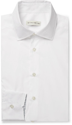 Etro White Slim-Fit Cotton-Poplin Shirt