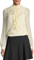 RED Valentino Long-Sleeve Silk Georgette Blouse w/ Crocheted Ruffle