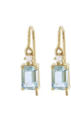 Suzanne Kalan Emerald Cut Blue Topaz and Diamond Drop Earrings - Yellow Gold
