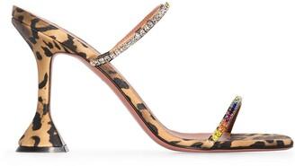 Amina Muaddi Gilda leopard print sandals