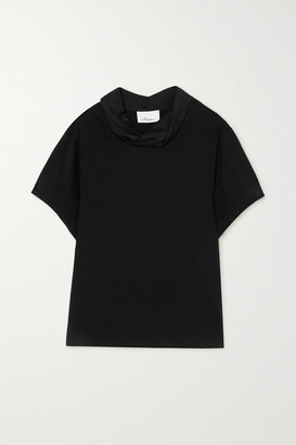 3.1 Phillip Lim Draped Hammered Satin-trimmed Cotton-jersey T-shirt - Black