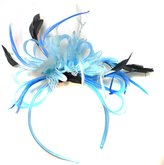 Caprilite Fashion Light Baby Net Hoop Feather Hair Fascinator Headband Wedding Royal Ascot Races