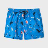 Paul Smith Men's Sky Blue 'Mixed Charm' Print Swim Shorts