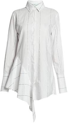 Off-White Off White Asymmetric Cotton Poplin Shirtdress