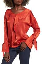 Moon River Drape Satin Blouse