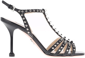 Prada Leather Sandals With Studs